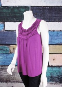 August Silk Gathered Ruched Stretch Blouse Shirt Top Purple