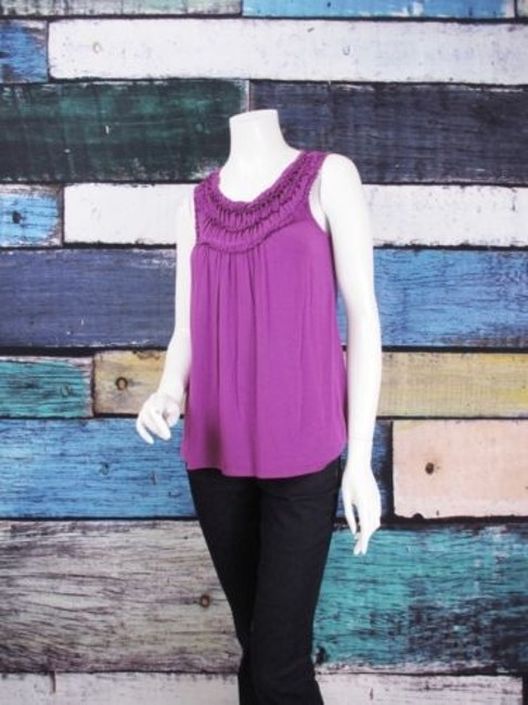 August Silk Gathered Ruched Stretch Blouse Shirt Top Purple Image 1