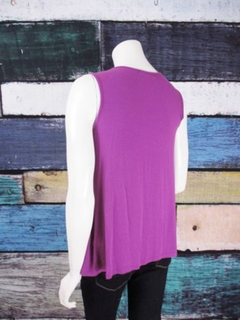 August Silk Gathered Ruched Stretch Blouse Shirt Top Purple Image 2