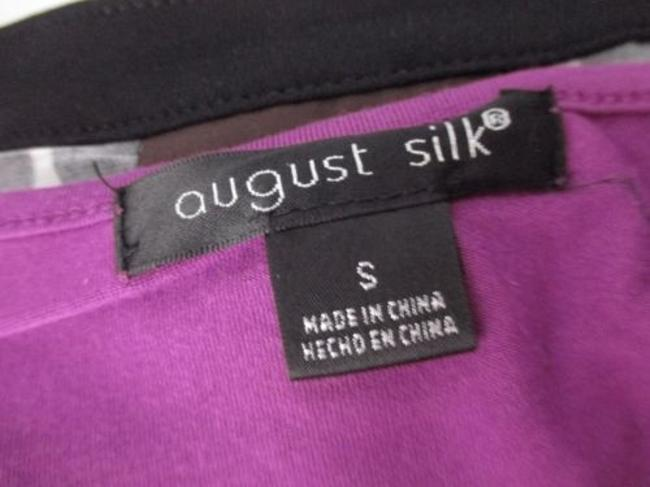 August Silk Gathered Ruched Stretch Blouse Shirt Top Purple Image 3