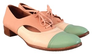 Chie Mihara Leather Coral Off white, rose, sea-green Flats