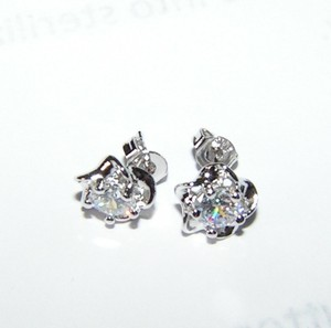 White Topaz Flower Silver Stud Earrings Free Shipping