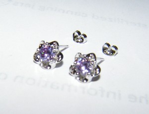 Amethyst And Sterling Silver Plated Post Earrings Free Shipping