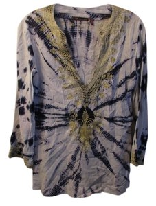 525 America Embroidered Embroidered Beach Gold Tie Dye Tunic