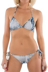Balmain Balmain Paris 2 Piece Triangle String Bikini Blue Snake Print Swimsuit