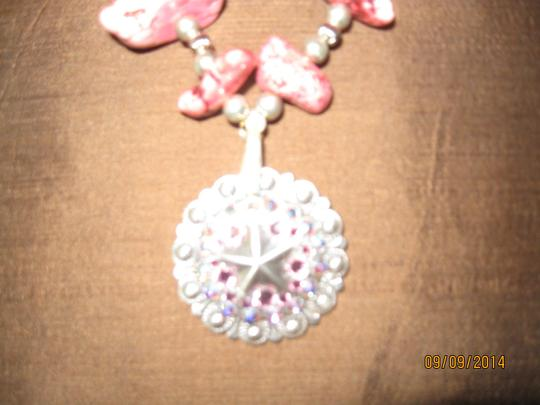 Stephanie Pink stone and silver necklace