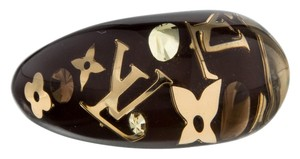 Louis Vuitton Clear, Yellow, Brown, Gold LV logo floral monogram Louis Vuitton Ring