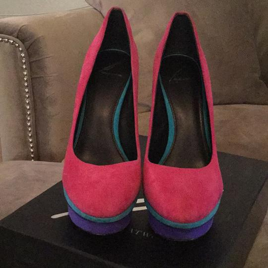 B Brian Atwood Pink, purple, teal, and yellow Platforms Image 1