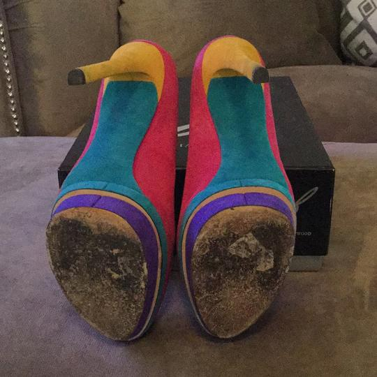 B Brian Atwood Pink, purple, teal, and yellow Platforms Image 4