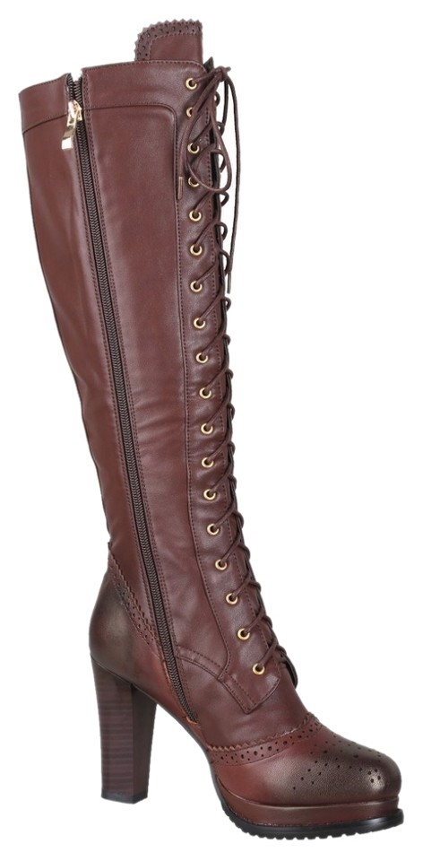 9c3423d8ba4 Brown Vintage Sheepskin + Pu Leather Lace Up Stacked Heel Knee High Boots  Booties