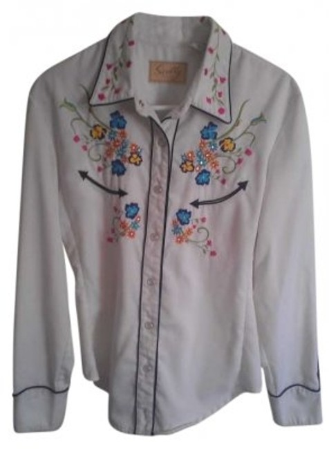 Item - White Pearl Snap Western Shirt with Bright Colored Flowers Button-down Top Size 8 (M)