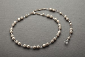 Mariell Gold 4079n-i-cr-g Alluring Back with Ivory Pearls Crystal Drop Necklace