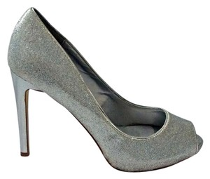 RSVP Glitter Peep Toe Stilettos Evening Size 7.5 Silver Pumps