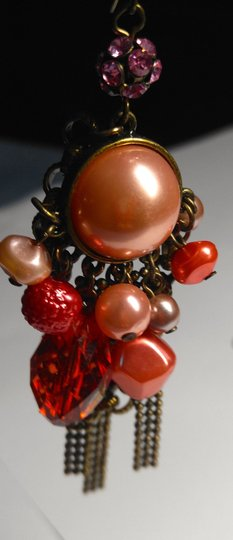 Other New Chunky Pearl Dangle Chandelier Earrings Salmon Copper J2079 Image 1