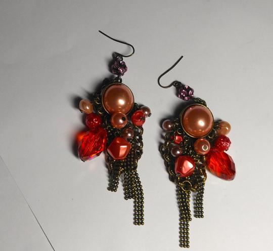 Other New Chunky Pearl Dangle Chandelier Earrings Salmon Copper J2079 Image 2
