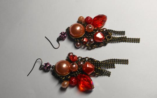 Other New Chunky Pearl Dangle Chandelier Earrings Salmon Copper J2079 Image 3