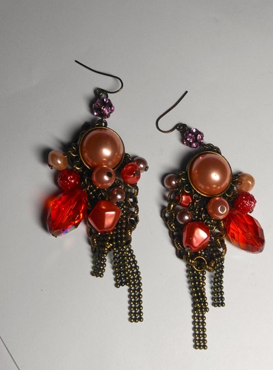 Other New Chunky Pearl Dangle Chandelier Earrings Salmon Copper J2079 Image 4
