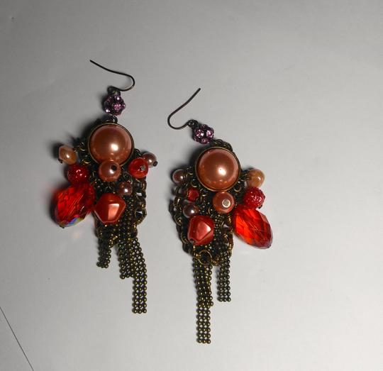 Other New Chunky Pearl Dangle Chandelier Earrings Salmon Copper J2079 Image 5