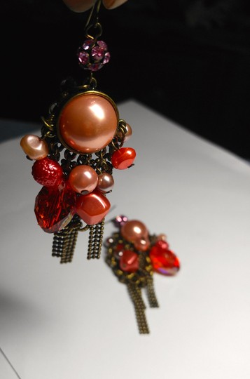 Other New Chunky Pearl Dangle Chandelier Earrings Salmon Copper J2079 Image 6