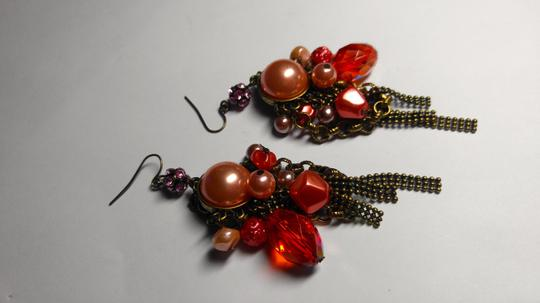 Other New Chunky Pearl Dangle Chandelier Earrings Salmon Copper J2079 Image 7