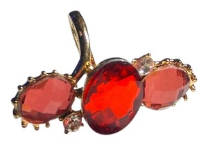 New Large Crystal Statement Ring Size 7 Gold Tone Pink Red Crystals J2080 Summersale