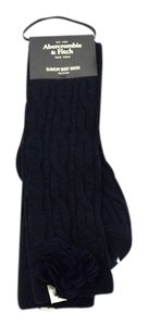 Abercrombie & Fitch Chunky Cable Slouchy Boot Socks with Tonal Foral Embellishment