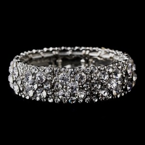 Elegance By Carbonneau Sparkling Silver Clear Crystal Stretch Bracelet 8703