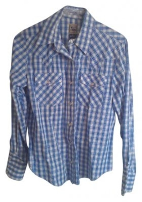Item - Blue Plaid Pearl Snap Western Shirt Button-down Top Size 4 (S)