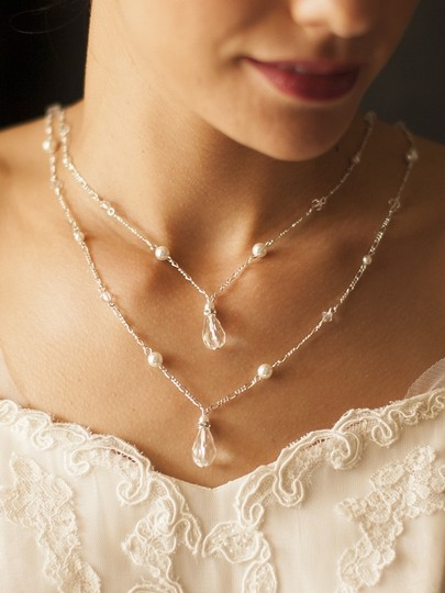 Mariell Ivory 4081n-i-cr-s Draped Figaro Chain Teardrop Back For Or Prom Necklace