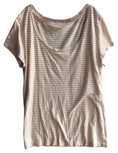 Ann Taylor LOFT T Shirt Tan and white