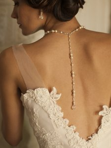 Mariell 4079n-w-cr-s Alluring Wedding Back Necklace With White Pearls & Crystals