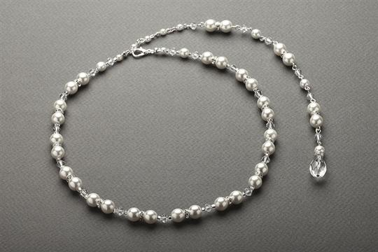 Mariell White 4079n-w-cr-s Alluring Back with Pearls Crystals Necklace