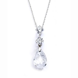Mariell Crystal 4078n-cr Cz Or Bridesmaids Pendant with Austrian Drop Necklace