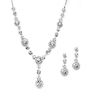 Mariell 4152s-cr Clear Floral Drop Necklace & Earrings Set For Prom Or Weddings