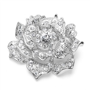 Mariell Sculptured Silver Pave Crystal Floral Bridal Pin 3722p-s