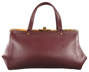 Lanvin Rare Oxblood Clasp Gold Tote in Burgundy