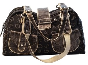 Guess Denim Faux Leather Satchel in Gray