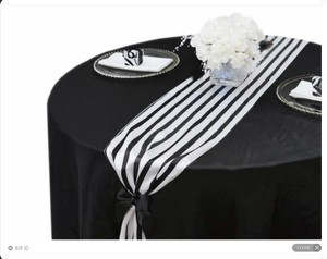 Black and White Satin Table Runners Tablecloth