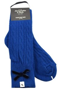 Abercrombie & Fitch Wool Blend Chunky Cable Slouchy Boot Socks Wool Blend with Velvet Bow
