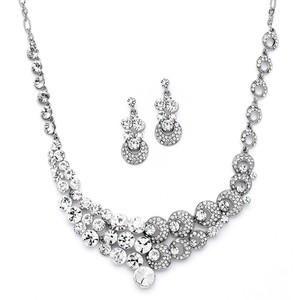 Mariell Unique Split Design Bold Crystal Bridal Statement Necklace Set 4185s