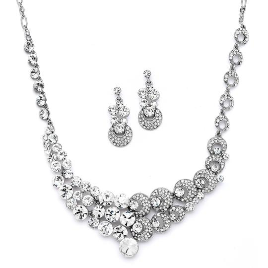 Mariell Silver Unique Split Design Bold Crystal Statement 4185s Necklace