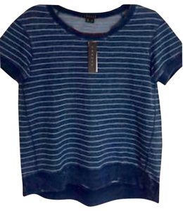 Theory Cotton Remsen Wash Striped T Shirt Blue