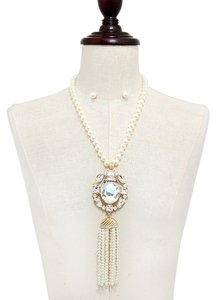 Other Rhinestone Crystal Pendant Strand Of Pearls and Tassel Necklace and Earrings
