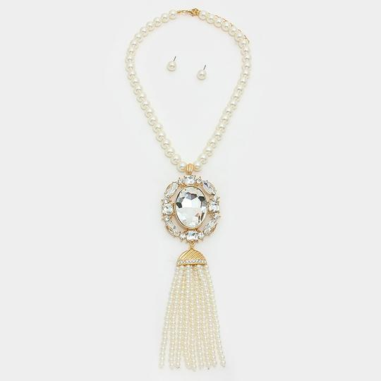 Other Rhinestone Crystal Pendant Strand Of Pearls and Tassel Necklace and Earrings Image 1