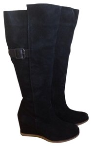 ALDO Boot Tall Zipper Wedge Suede Black Boots