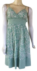 BCBGMAXAZRIA short dress Green Floral Cotton Spaghetti Straps Smocking Bcbg Max Azria on Tradesy