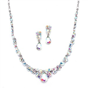 Mariell Rainbow 4192s-ab Regal Ab Crystal Or Prom Earrings Set Necklace