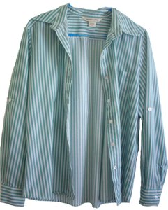 Allison Daley Elegant Career Layers Vintage Button Down Shirt Blue /white