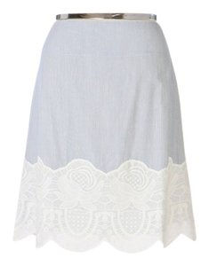 Anthropologie Snak Pinstripe Lace Trim Skirt
