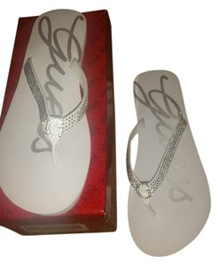 Guess White and silver Sandals